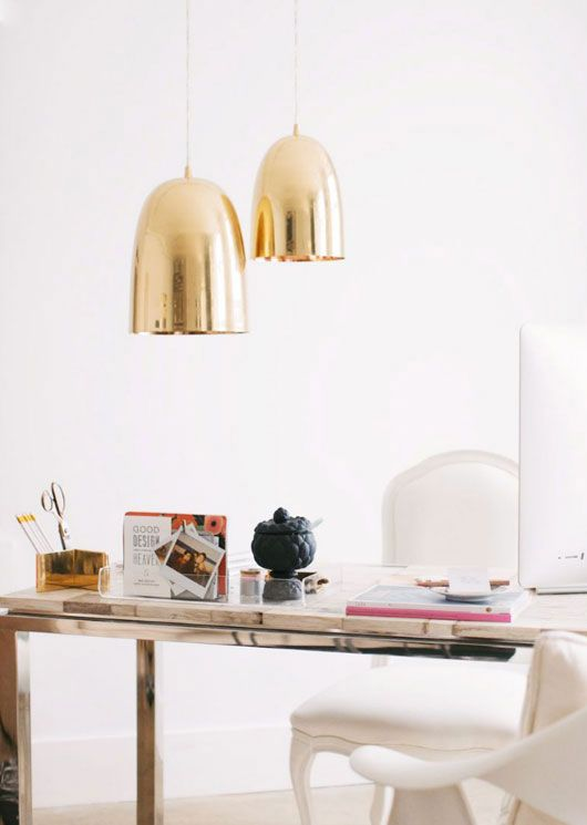 fashion in a workspace, gold lights