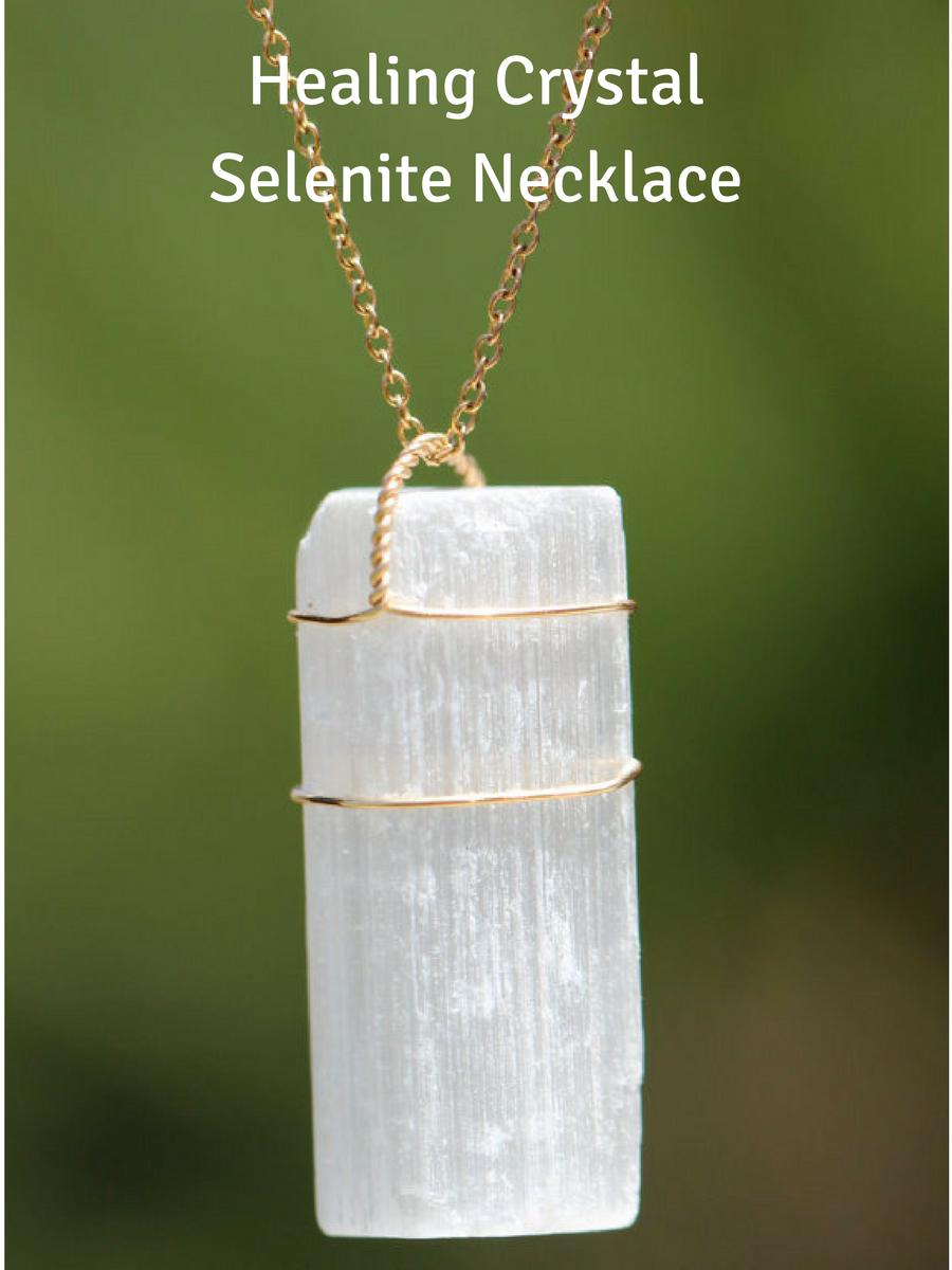 Healing Selenite Necklace Selenite Necklace Selenite Pendant on Cord