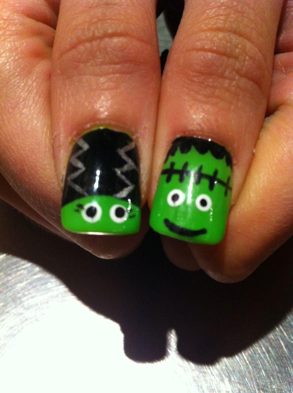Gotta show off my Frankenstein nails