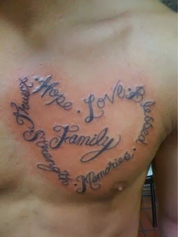 Life and family tattoo on chest Tattoos for guys, Family