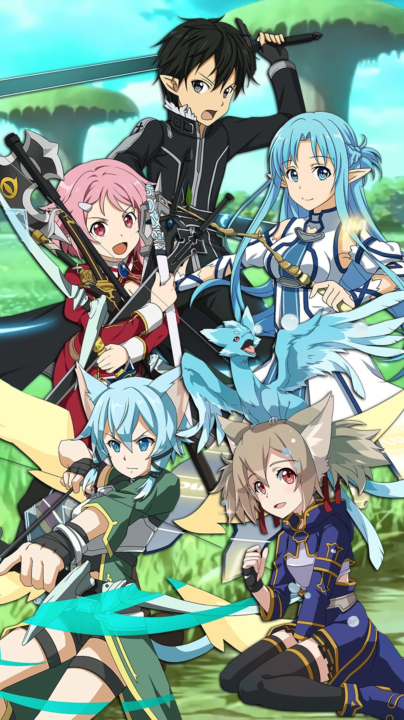 ALO Sword Art Online Wallpaper Kirito Lizbeth Asuna Sinon Silica Pia