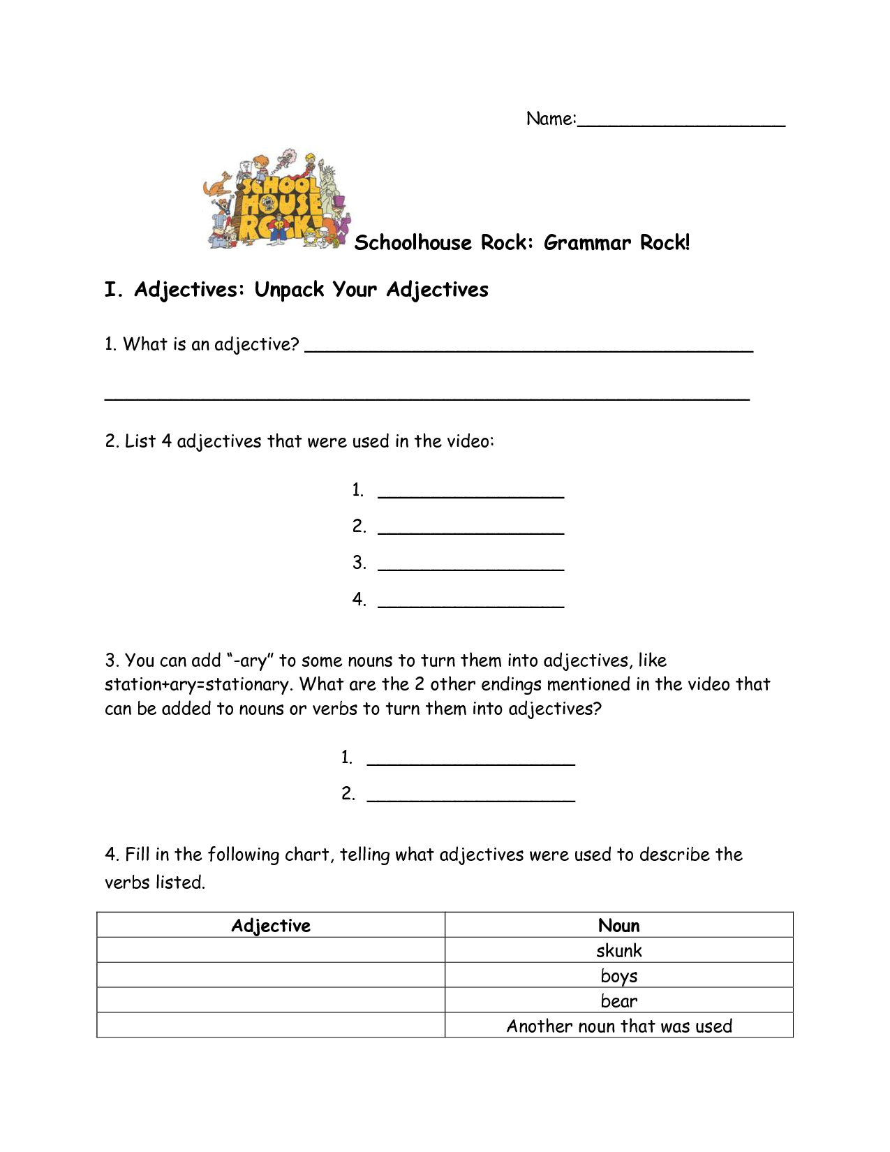 School House Rock Worksheet