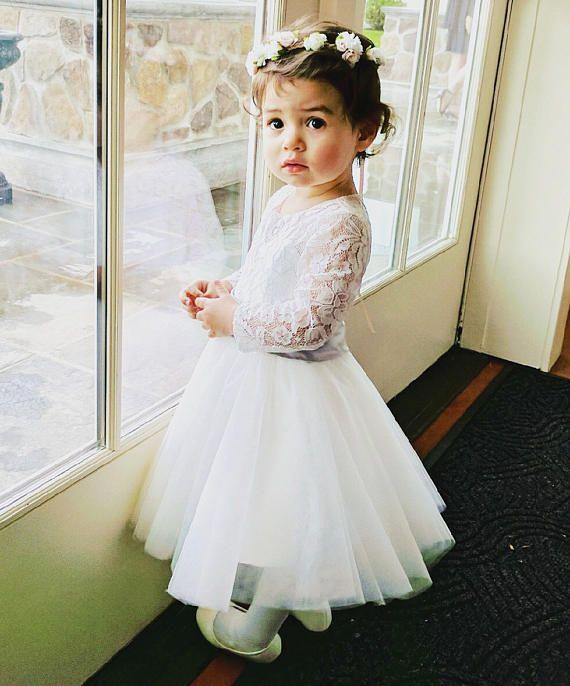 95c2327eb82 Long Sleeves Light Ivory Flower Girl Dress Lace Tulle Flower Girl Dress  With Silver Sash Bows Floor-length