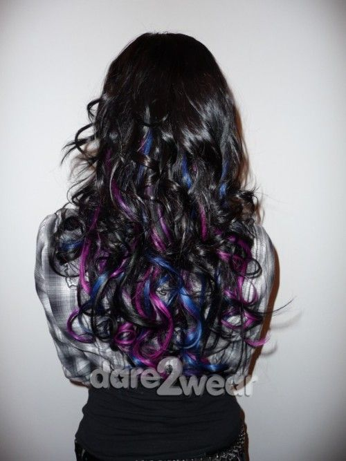 Curly Hairstyles With Color Streaks Images Of Hair Extensions