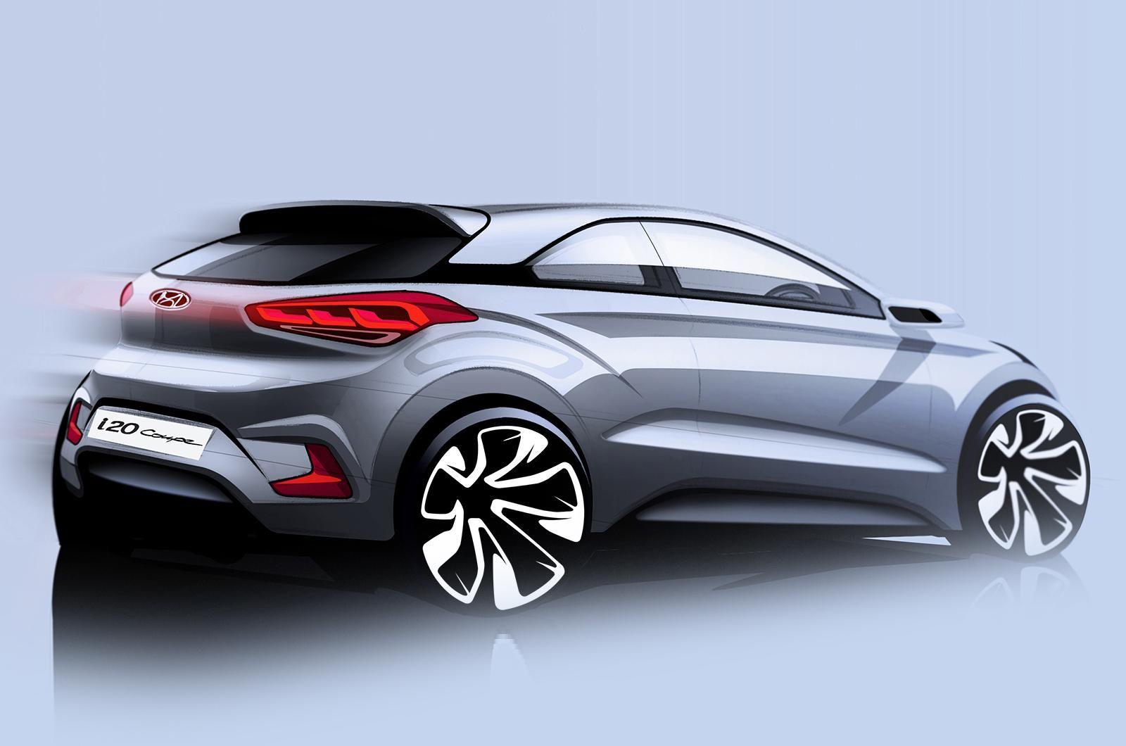 Hyundai I20 Coupe Teaser Sketch Hyundai New Hyundai Coupe
