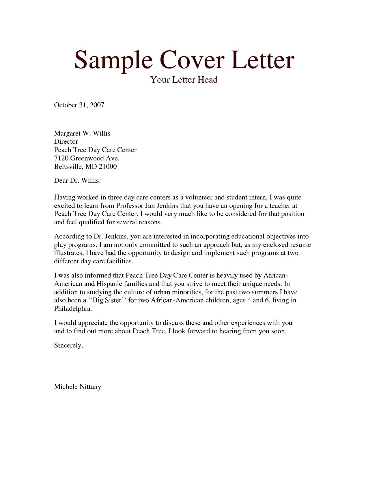 Cover Letter For Teaching Job Sample Cover Letters For Teaching