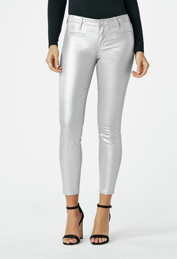 8fbd3a99a7 Metallic Skinny Ankle Grazer in Silver - Get great deals at JustFab ...