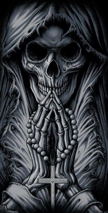Skull | Black | Bones | Schädel | Totenkopf | Knochen | Beten | Tod | Umhang | Grey | white |