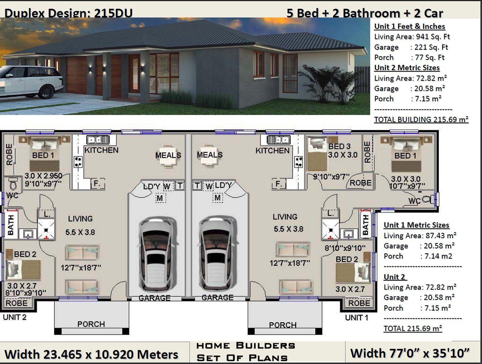 Duplex House Plans 5 Bedroom Duplex Design 3 X 2 Bedrooms Etsy Duplex House Plans Duplex Design Duplex Plans