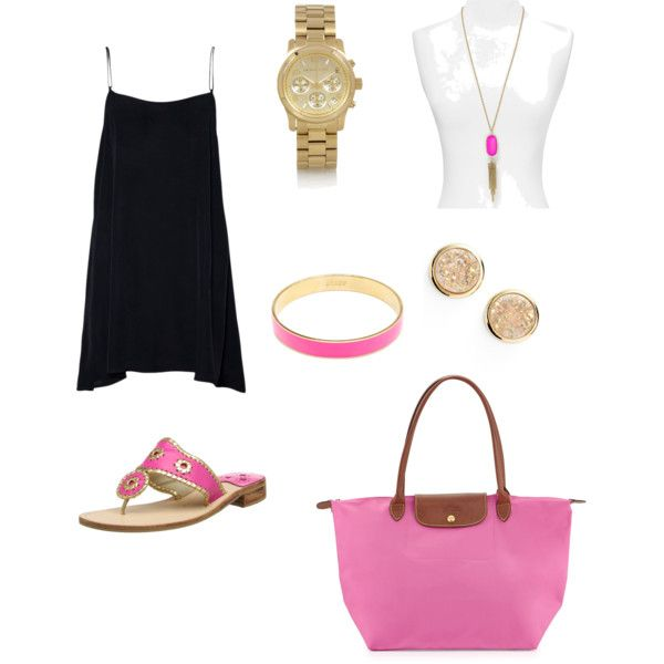 Night out by ktanner02 on Polyvore featuring polyvore, fashion, style, Jack Rogers, Longchamp, Michael Kors, Marcia Moran, Kendra Scott and J.Crew