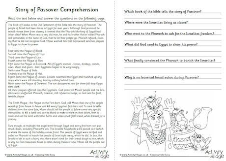 Story of Passover Comprehension Worksheet. Click through to ...