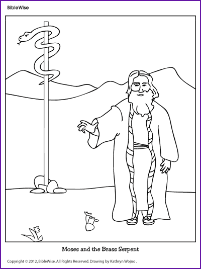 Coloring Moses And The Brass Serpent Kids Korner Bible Crafts Sunday School Coloring Pages Bible Coloring