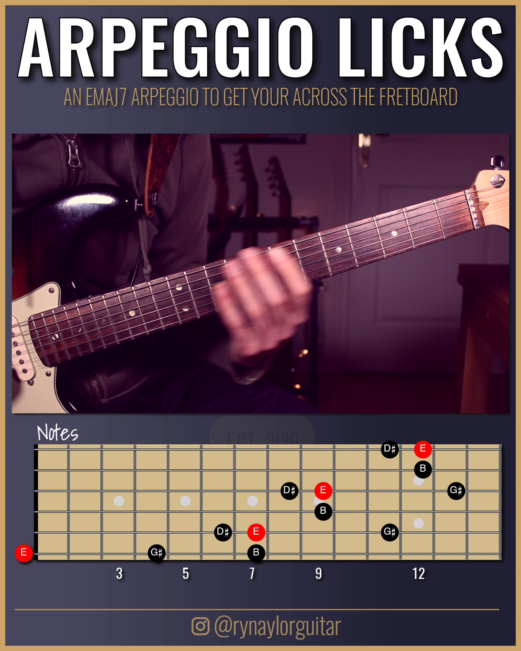 A very useful ascending arpeggio line that I was enjoying in my practice this morning. Arpeggios are so satisfying.   This is an E major 7th arpeggio (R-3-5-7) spanning THREE octaves.  For more insight on exactly how I played the lick, there are Soundslice interactive tabs (synced to the video) available to all members of my Patreon group.