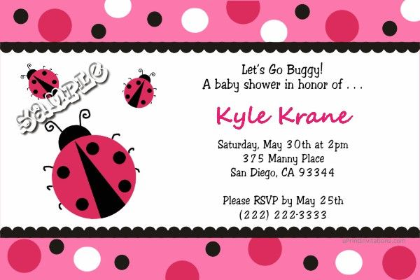Ladybug Baby Shower Invitations -CHOOSE YOUR COLOR SCHEME - Get - create invitations online free no download
