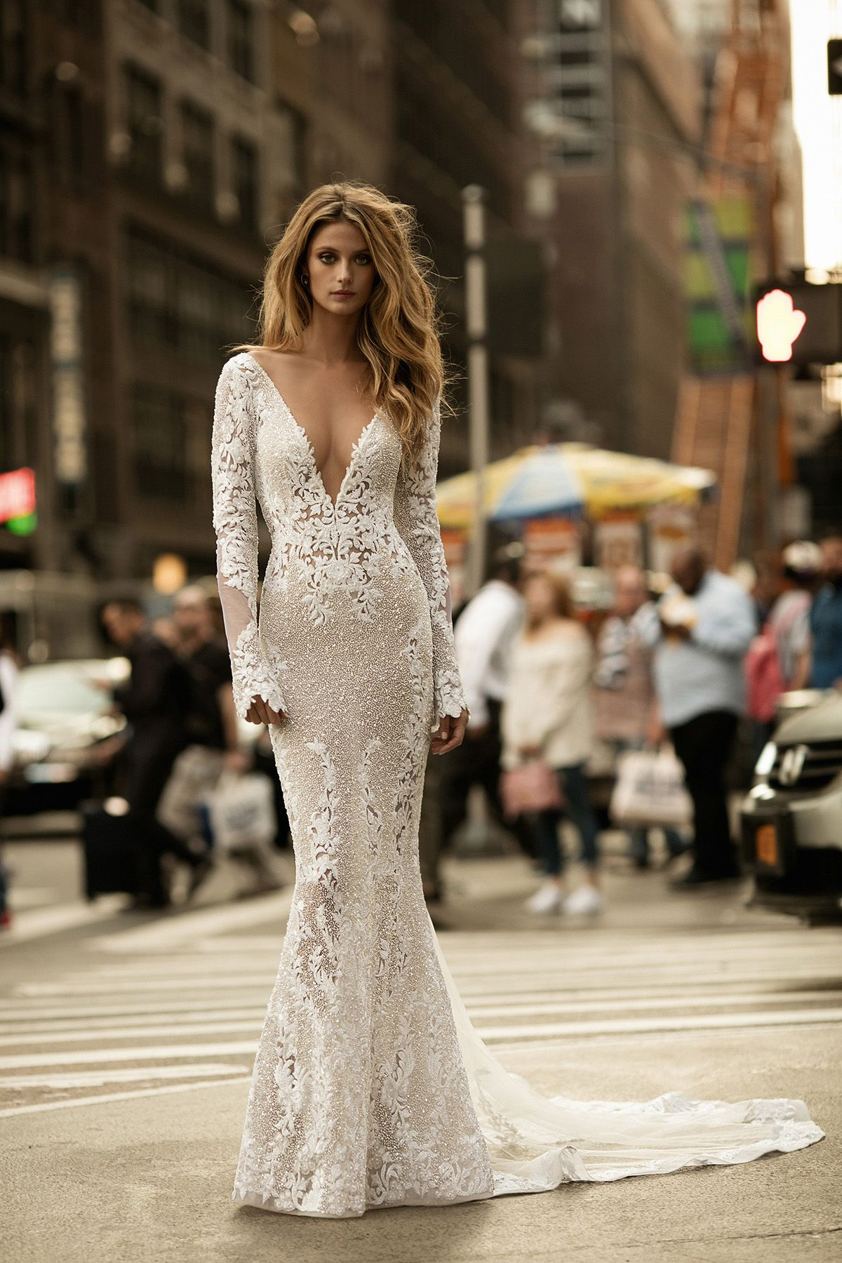 b38a4a946cf0 Sexy wedding gown with plunging neckline and sleeves    BERTA s Fall Winter  2017 bridal collection is sending us to  weddinggown heaven with its ...