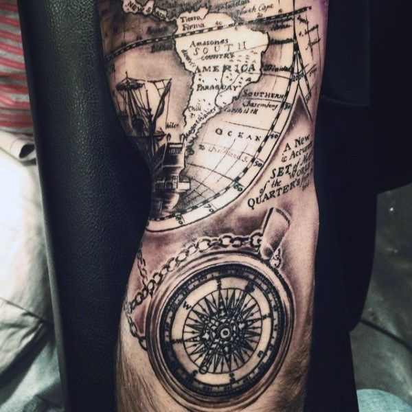 50 world map tattoo designs for men adventure the globe 50 world map tattoo designs for men adventure the globe gumiabroncs Choice Image