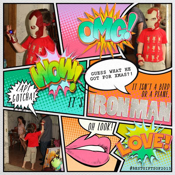 it's ironman dress-up comic page by Justine with products from Paula Kesselring at The Lilypad