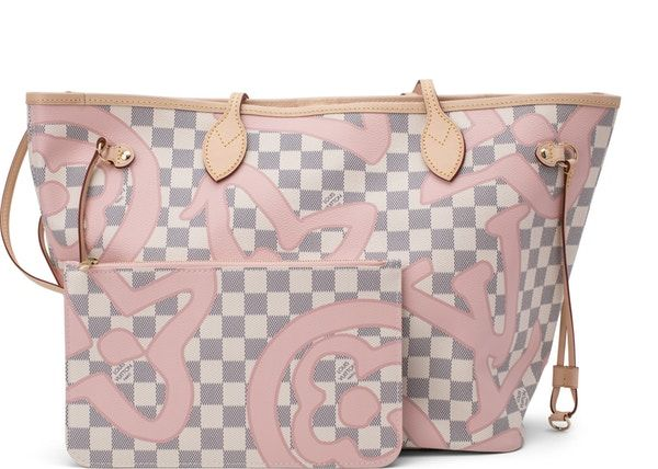 d521d7ad4666 Louis Vuitton Neverfull Nm Damier Tahitienne Azur MM (with Pouch) Ivory Grey  Pink