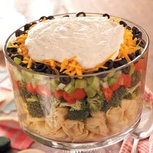 A little different from the run of the mill layered salad.  Great for a salad luncheon or pitch in.