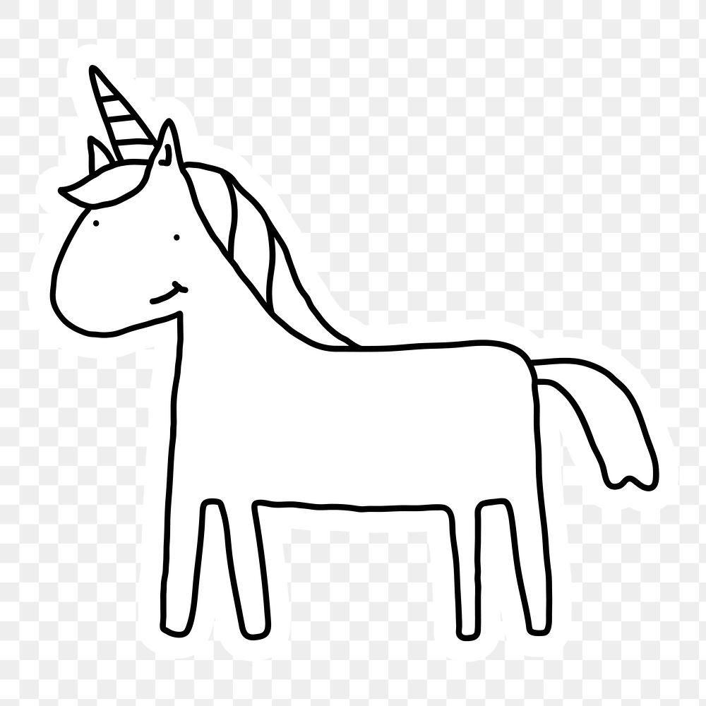 Black And White Unicorn Doodle Sticker With A White Border Design Element Free Image By Rawpixel Com Marine Free Illustrations Border Design Design Element