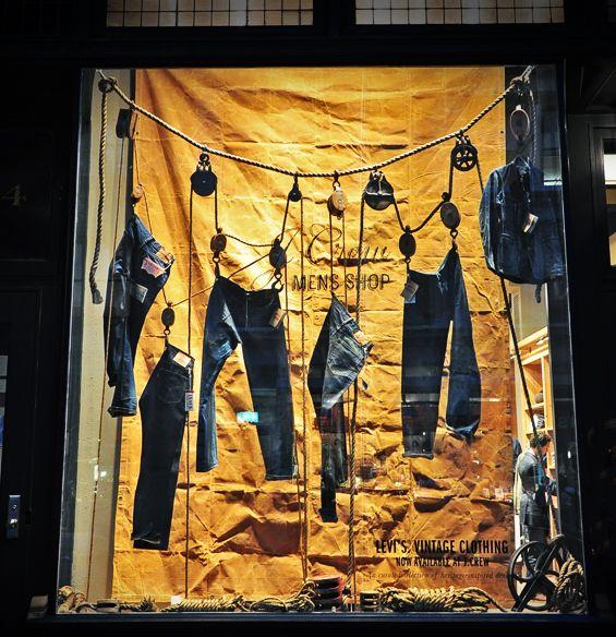 J Crew Men S Shop Levi S Vintage Clothing Gear Patrol Denim Window Display Window Display Retail Clothing Store Displays
