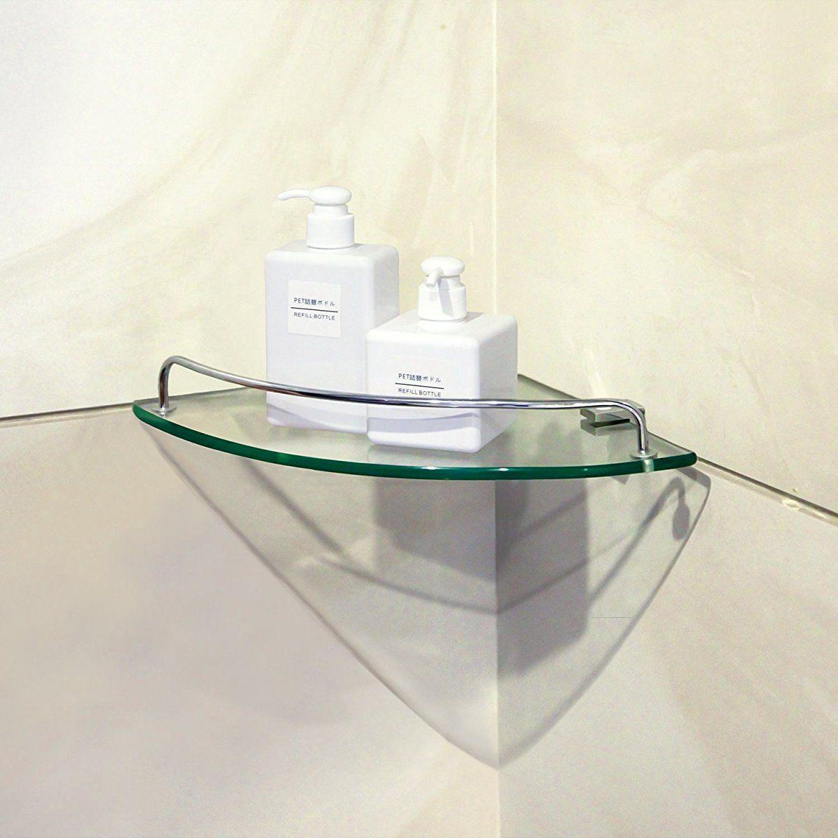 Bathroom tempered glass corner shelf vdomus stainless
