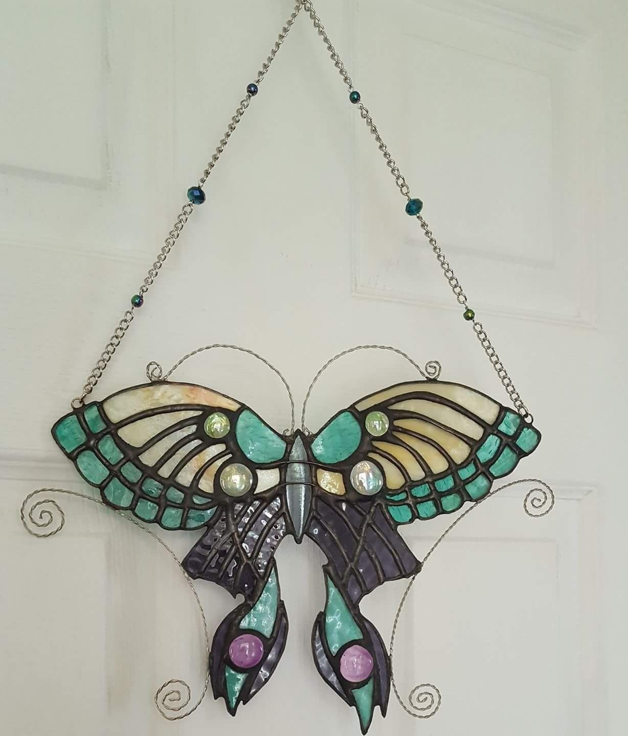 Stained Glass Butterfly with bead and wire accents. Check out my ...