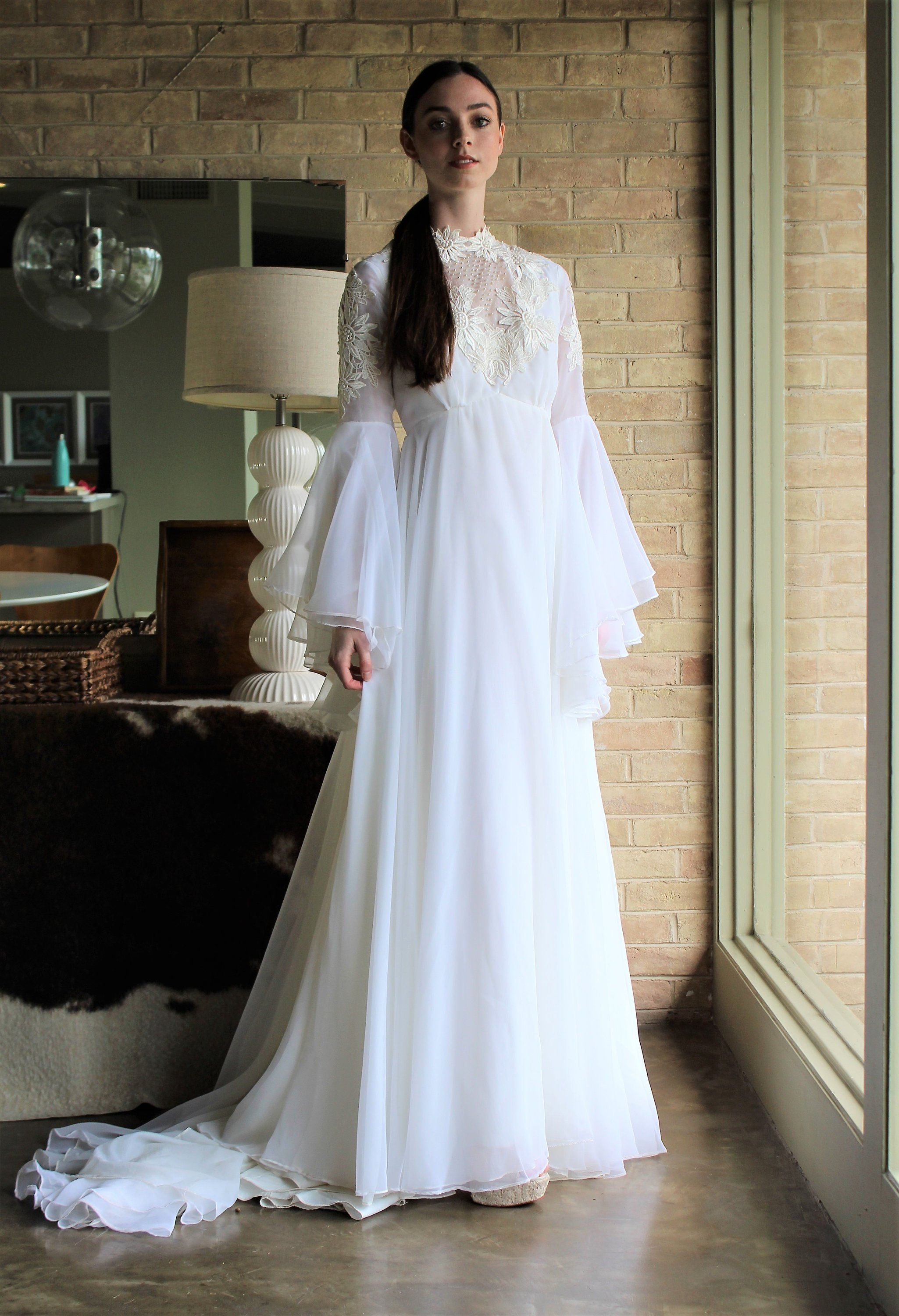 Boho Vintage Wedding Gown From Alfred Angelo Long Sleeved Wedding