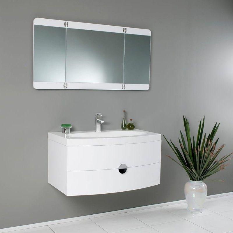 White Modern Bathroom Vanity W Three Panel Folding Mirror Https Www