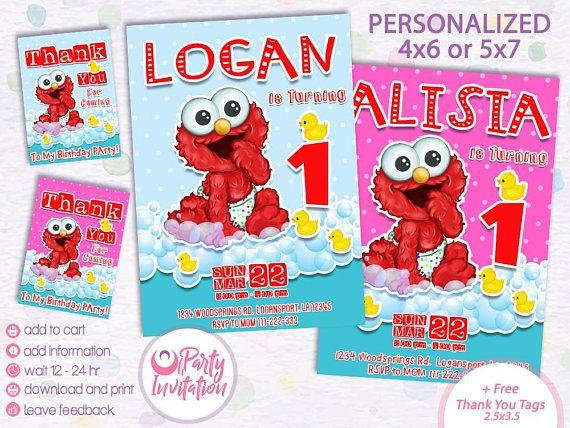 Sesame Street Invitation Elmo Baby Birthday Party Printable Digital Download