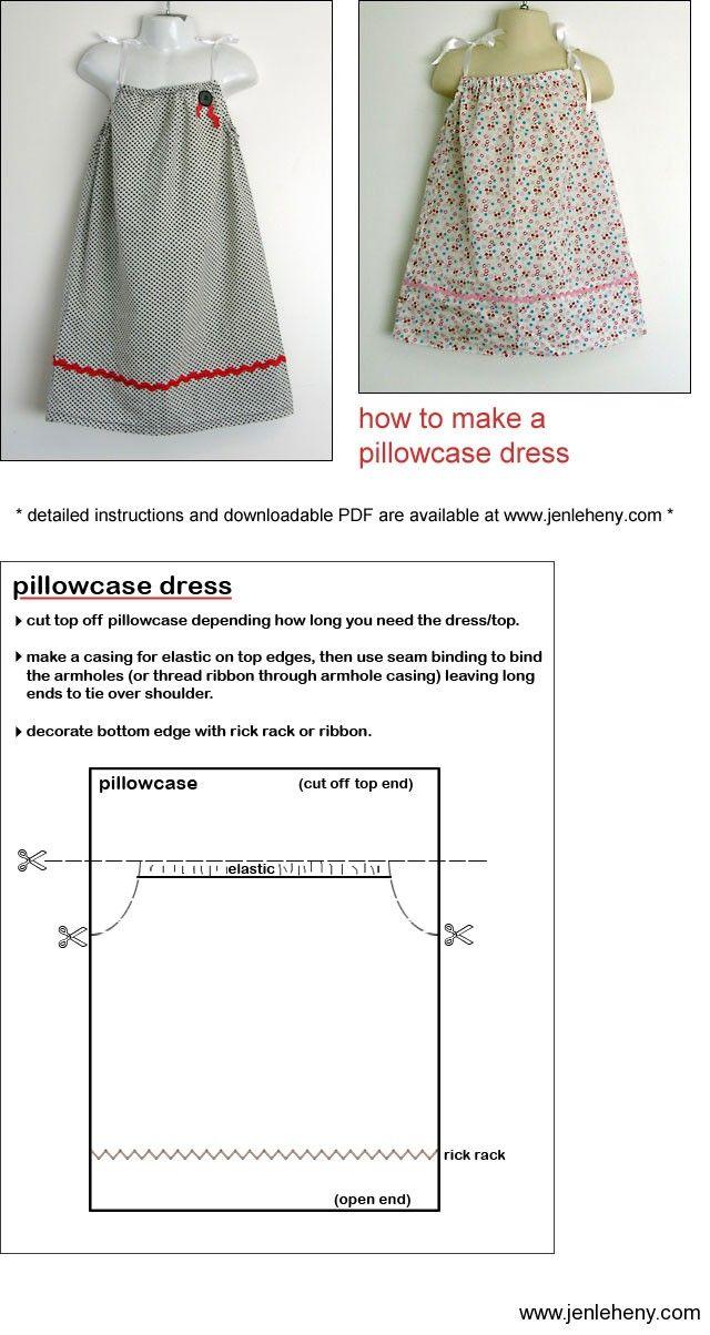 Pillowcase Dress Instructions Pillow Cases Template And Pillows