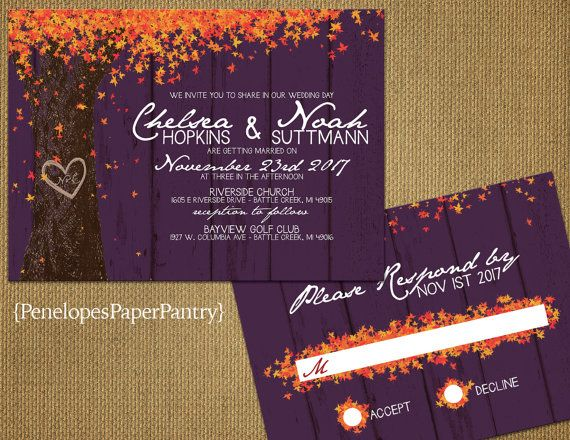 Elegant Plum Rustic Fall Wedding Invitation Oak Tree Carved