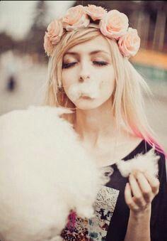 Cotton candy , flower head piece ,, pink hair