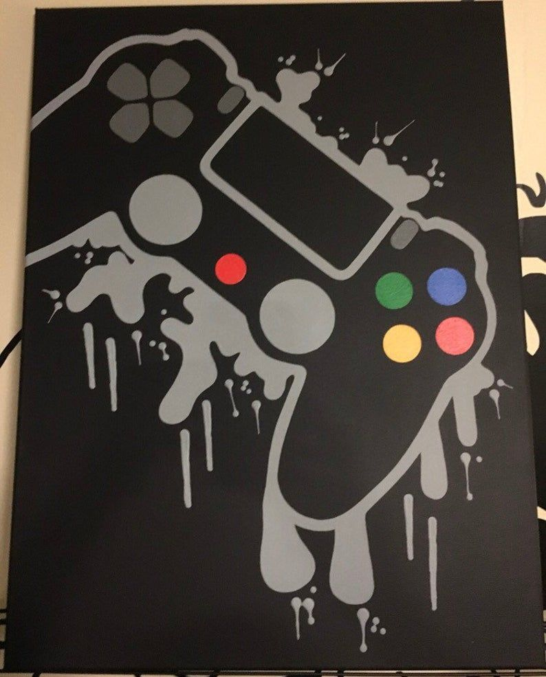 Playstation 4 Video Game Controller Painting Video Game Art Hand Painted Custom Colors Custom Wall Art Video Game Decor Teenage Wall Art In 2020 Video Game Decor Custom Wall Art Video Game Art