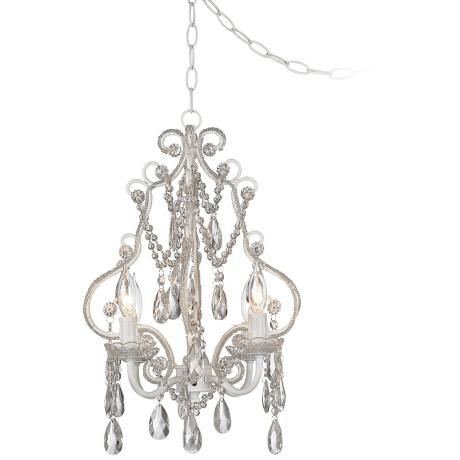 White with crystal accents plug in swag chandelier style p5787 lampsplus white with crystal accents plug in swag chandelier aloadofball Choice Image