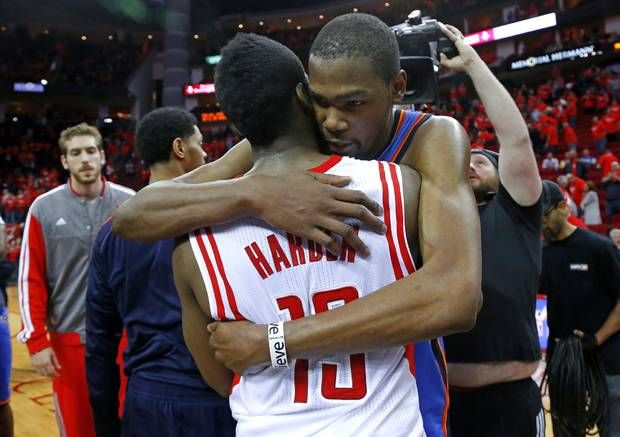 7ba4ae5a416 Oklahoma Citys Kevin Durant (35) hugs Houstons James Harden (13) after Game  6 in the first round of the NBA playoffs between the Oklahoma City Thunder  and ...
