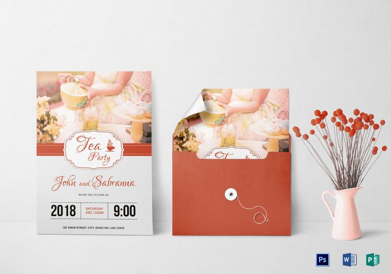 Modern Tea Party Invitation Template  Invitation Card Templates