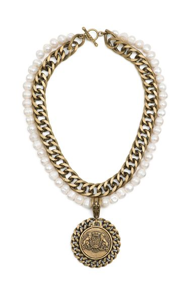 """16"""" white pearls, antiqued brass-clad double bevel chain, teardrop FK bail, curb bezel and antiqued sterling silver-clad Aime medallion by French Kande"""