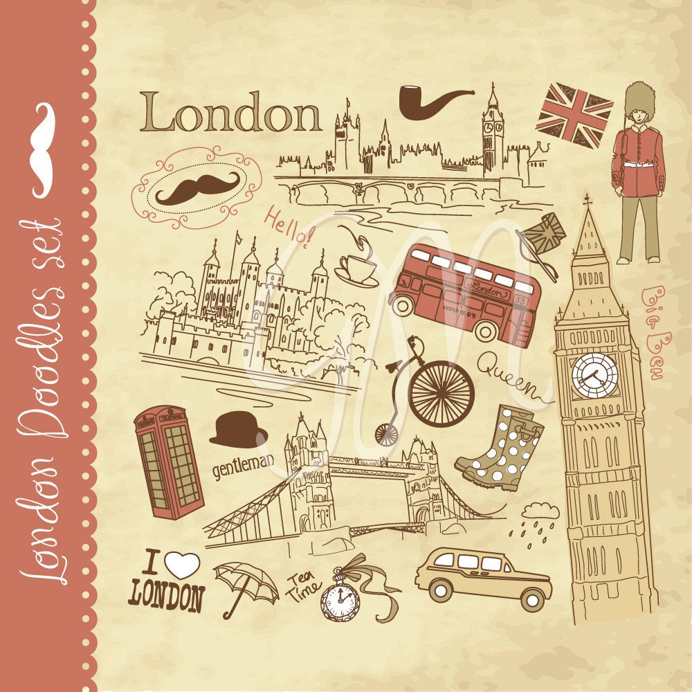 London Clip Art And Digital Paper Set And Vintage By Graphicmarket