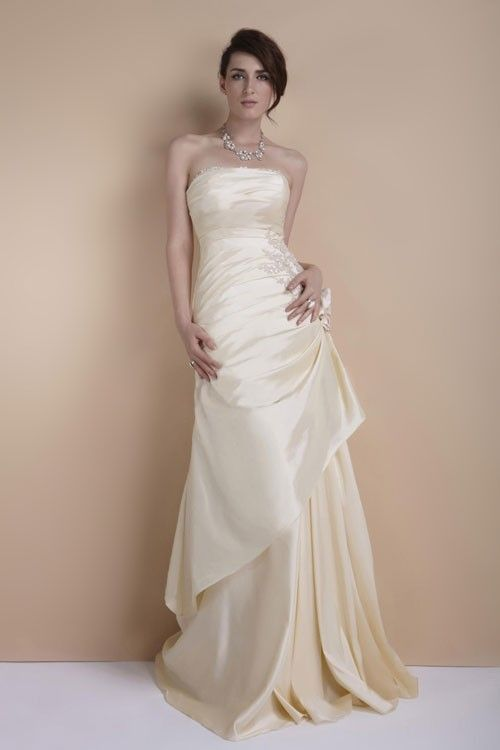 Simple champagne wedding dress for older brides over 40 for Wedding dress second marriage over 50