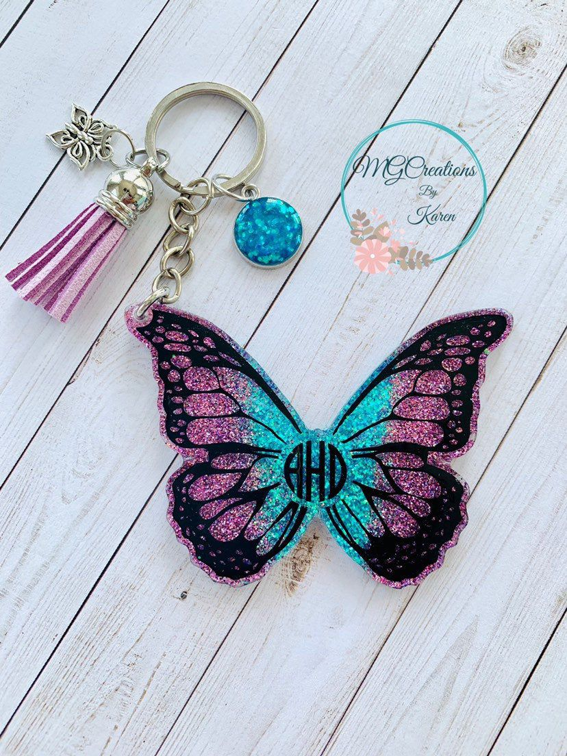 Foil Flakes Holographic Butterfly Glitter Handmade Butterfly Resin Initial Keychain