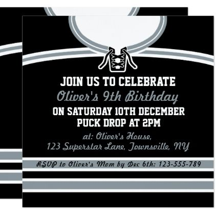 Ice hockey jersey themed party invites template stopboris Image collections