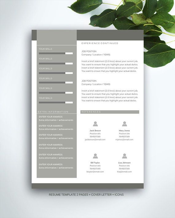 Resume Template 3 page \/ CV Template + Cover Letter \/ Instant - resume template with picture insert