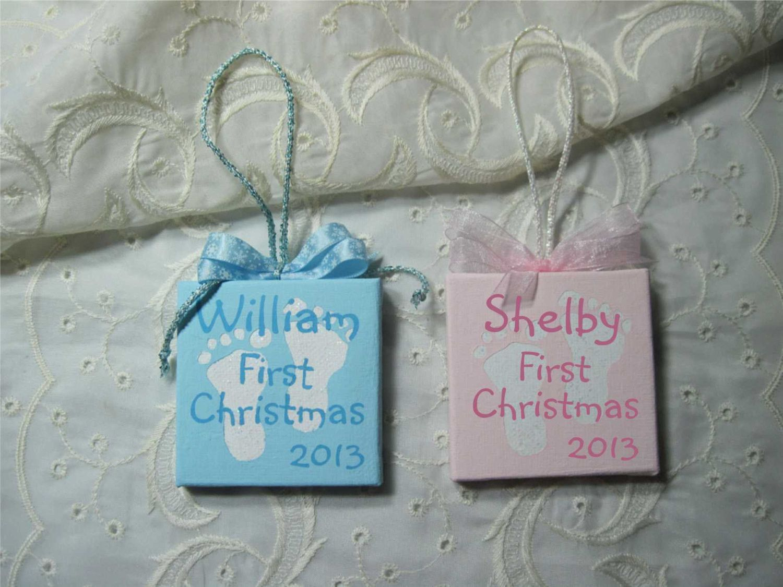 Custom first christmas ornament - Hand Painted Mini Canvas Holiday Ornament Baby Boy Girl First Christmas Custom Name