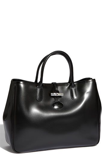 7e2d4224e26 Longchamp 'Roseau' Tote ~ I love Longchamp! This is so sleek looking! | Bags  | Bags, Leather handbags, Black handbags