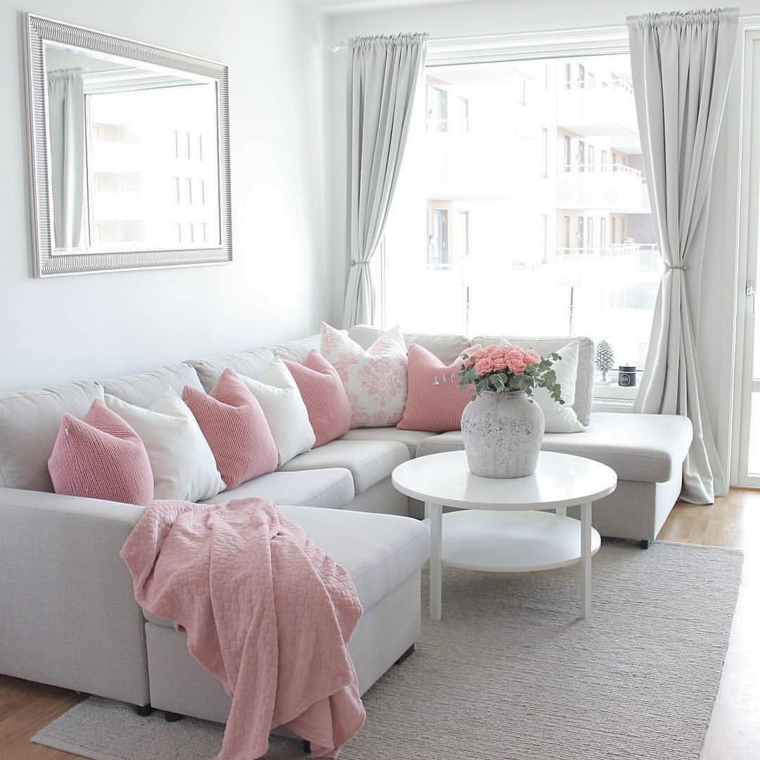 Pink And White Living Room Living Room Decor Apartment Living