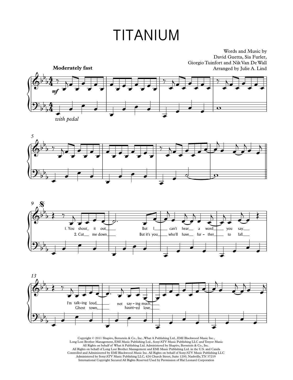 Titanium Piano Sheet Music For Intermediate Piano Players