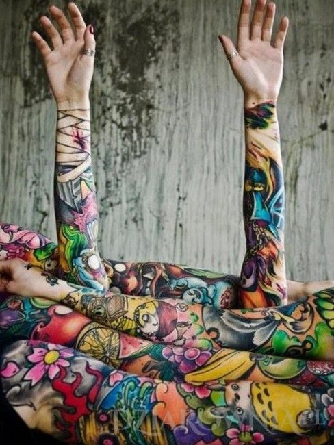 Tatuaż Kolorowe Tatuaże Rękawy Na Przedramieniu Na