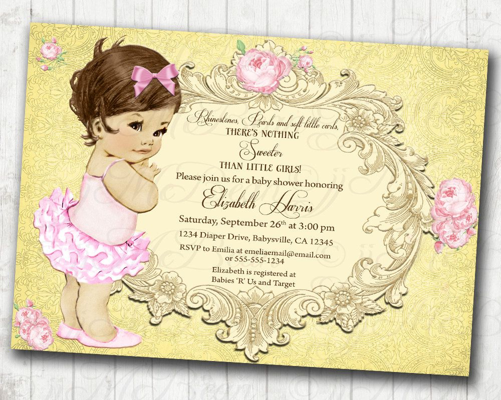 Girl Baby Shower Invitation   Floral Vintage Invitation For Girl   Antique  Roses And Gold   DIY Printable