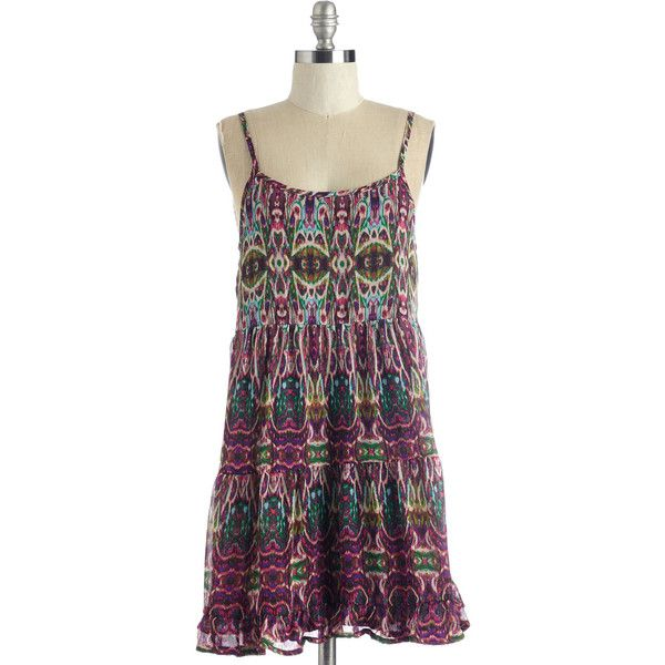Boho Short Length Spaghetti Straps Shift On the Groove Dress by... ($33) ❤ liked on Polyvore